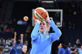 Katie Lou Samuelson of the Chicago Sky warms up before a game against the Minnesota Lynx at Target Center in 2019 in Minneapolis, Minnesota.