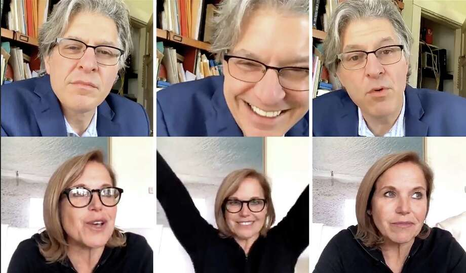 """Three moments from Geoff Edgers's conversation with Katie Couric on April 17, 2020, on the Instagram Live show """"Stuck with Geoff."""" Photo: The Washington Post / The Washington Post"""