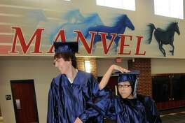 Although the novel coronavirus pandemic has led to changing plans, this year's Alvin ISD grads will get to have in-person graduation ceremonies like district graduating classes from the past. Johnathan Dietz and Tiffany Han of Manvel High's Class of 2009 show off their cap and gowns at that year's ceremony.