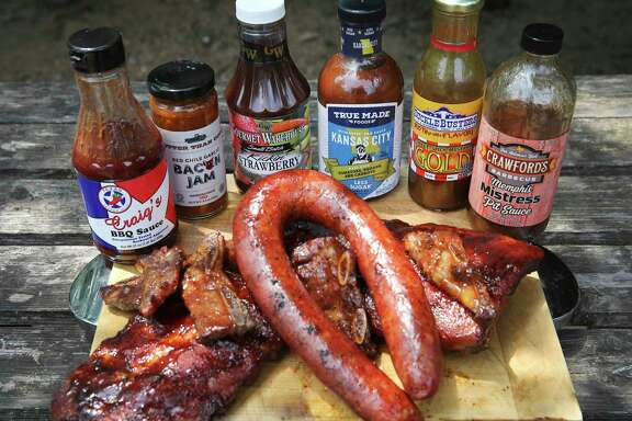 Six barbecues sauces that are easily found throughout the San Antonio are and are worthy of your pantry include (from left): Craig's BBQ Sauce, Better Than Good Red Chile Garlic Bacon Jam, Gourmet Warehouse Kickin' Strawberry, True Made Foods Kansas City BBQ, SuckleBusters Gold and Memphis Mistress Pit Sauce.