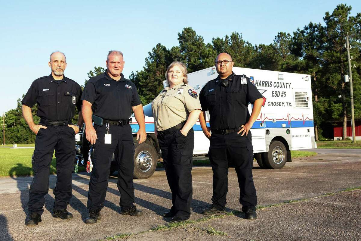 The EMS staff at Crosby's Harris County ESD 5 celebrates National EMS week asking for prayers for them and their staff. From left, Keith Klein, paramedic field trainer, Kenny Robbin, EMT, Christy Graves, director of operations, and Gerardo Gonzalez, captain.