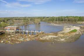 An aerial photo from Friday, May 22 shows the aftermath of flooding at the Sanford Dam in Midland County.
