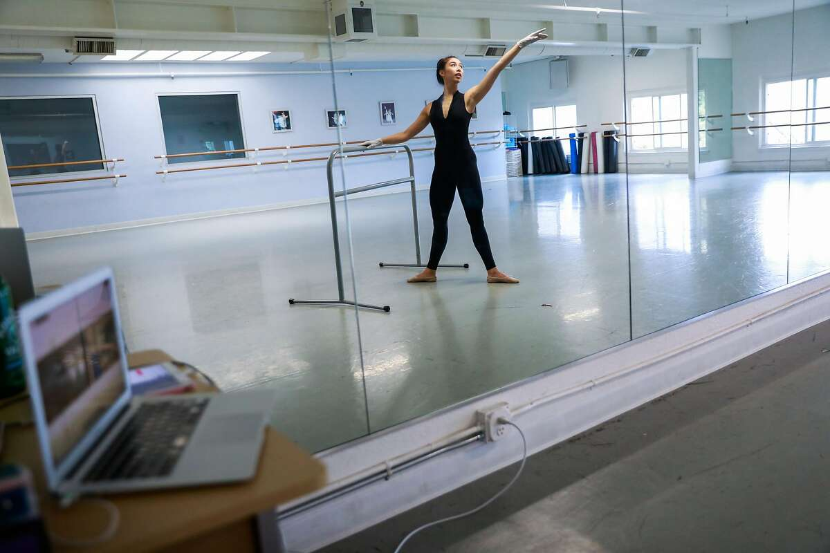Dancer Katerina Beckman teaches a virtual ballet class at the American Academy of Dance in Redwood City, California on Monday, May 18, 2020.