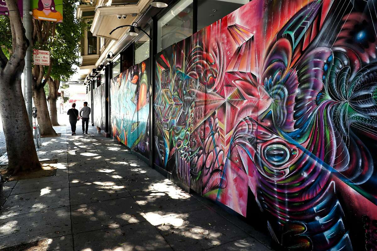 Mural on Absinthe Brasserie & Bar, 398 Hayes Street, funded by Paint the Void in San Francisco, Calif., on Sunday, May 17, 2020.