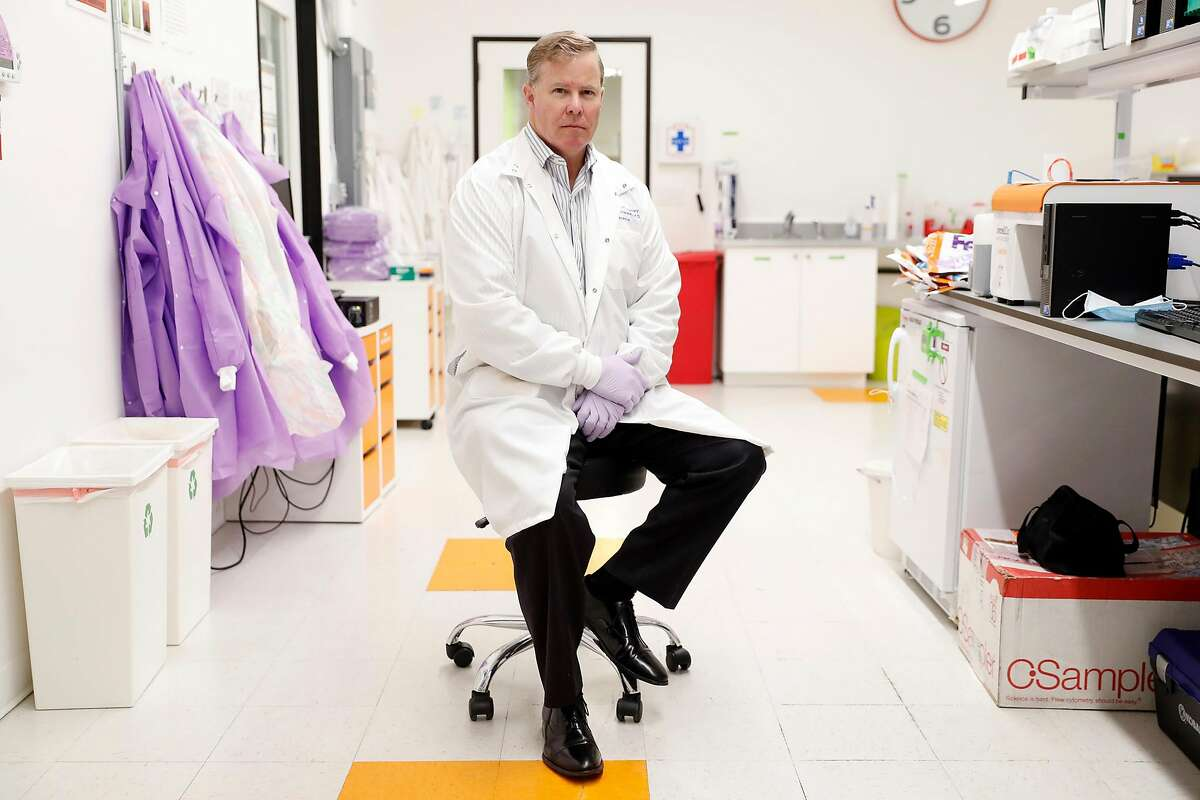 CEO Bruce Patterson of IncellDx in the company's laboratory in San Carlos, Calif., on Monday, May 11, 2020. Patterson, who is doing lab work for drug company CytoDyn, says he's uncovered an important aspect of how coronavirus functions and found evidence that the virus may be infectious in the blood.