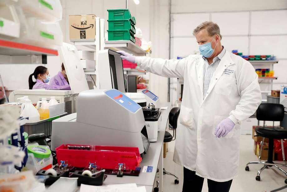 CEO Bruce Patterson of IncellDx in the company's laboratory in San Carlos, Calif., on Monday, May 11, 2020. Patterson, who is doing lab work for drug company CytoDyn, says he's uncovered an important aspect of how coronavirus functions and found evidence that the virus may be infectious in the blood. Photo: Scott Strazzante / The Chronicle