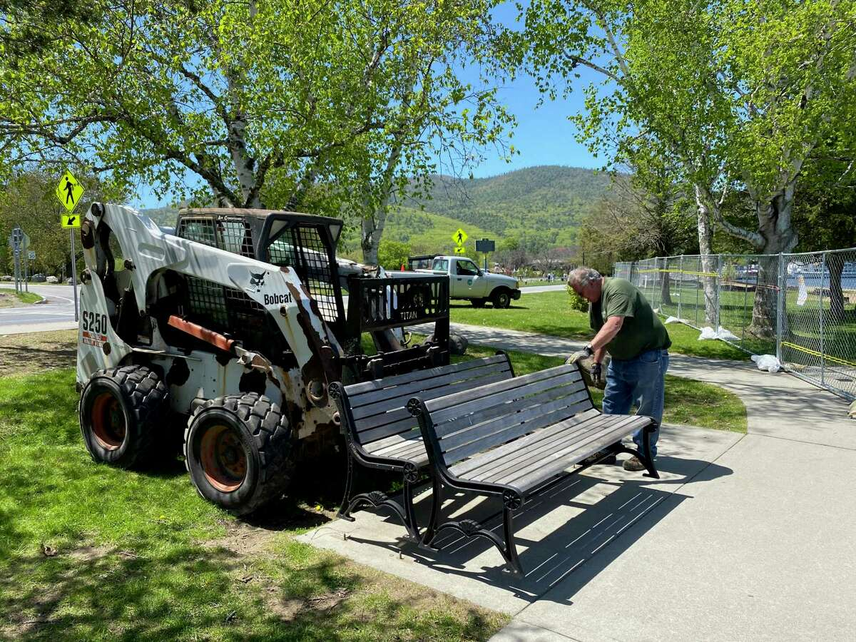 Park benches are removed from the Lake George waterfront ahead the Memorial Day weekend on Friday, May, 22, 2020, in Lake George, N.Y. Million Dollar Beach will be open for the weekend from 10 a.m. to 6 p.m. starting Saturday. (Ed Burke/Special to the Times Union)