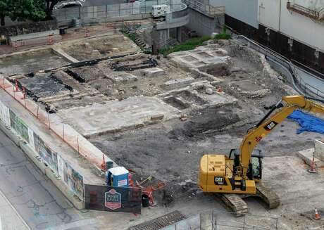 The recently discovered historic foundation of the original circa 1868 chapel of St. James African Methodist Episcopal Church, now the second-oldest black church in San Antonio, is seen Thursday, May 21, 2020 near the intersection of West Houston and Cameron Streets in downtown San Antonio. The foundation was discovered while crews were excavating for the second segment of Phase 1 of the San Pedro Creek Cultural Park.