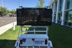 An electronic message board in front of Stamford Police headquarters on Thursday.
