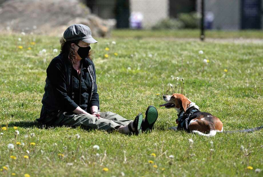 Jean Carlson and Sadie, of Danbury, enjoy the sun at the reopened dog park on Miry Brook Road ,Friday, May 22, 2020, in Danbury, Conn. Photo: H John Voorhees III / Hearst Connecticut Media / The News-Times