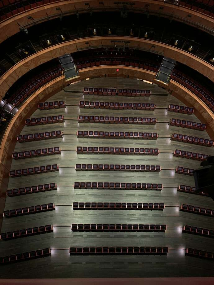 This is what the Tobin Center seating will now look like in order to adhere to COVID-19 social distancing guidelines thanks to one of a kind technology. Photo: Courtesy