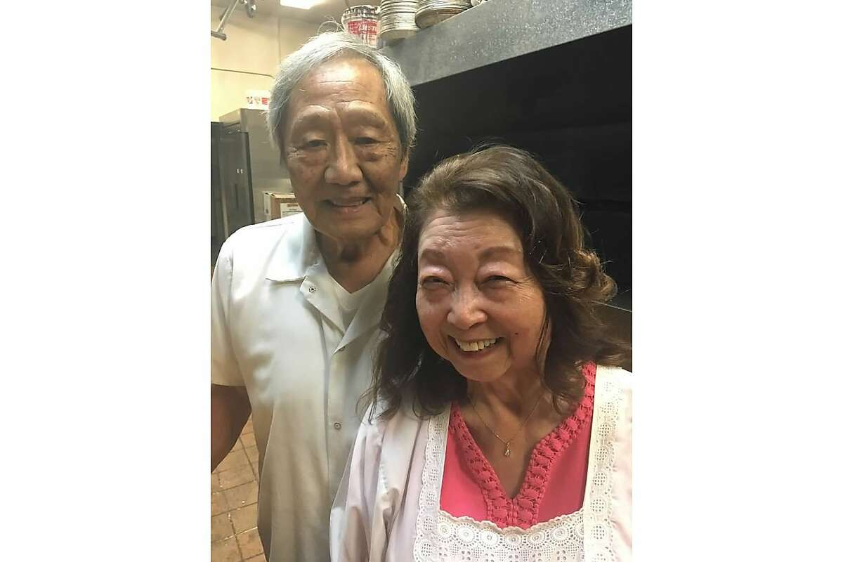 Hatsy Yasukochi and Moses Yasukochi at Yasukochi's Sweet Stop.