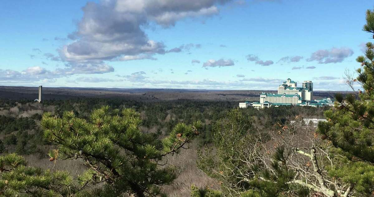 A view from the top of the Lantern Hill trail near Foxwoods Resort Casino. That's the tower at the Mashantucket Pequot Museum at left.