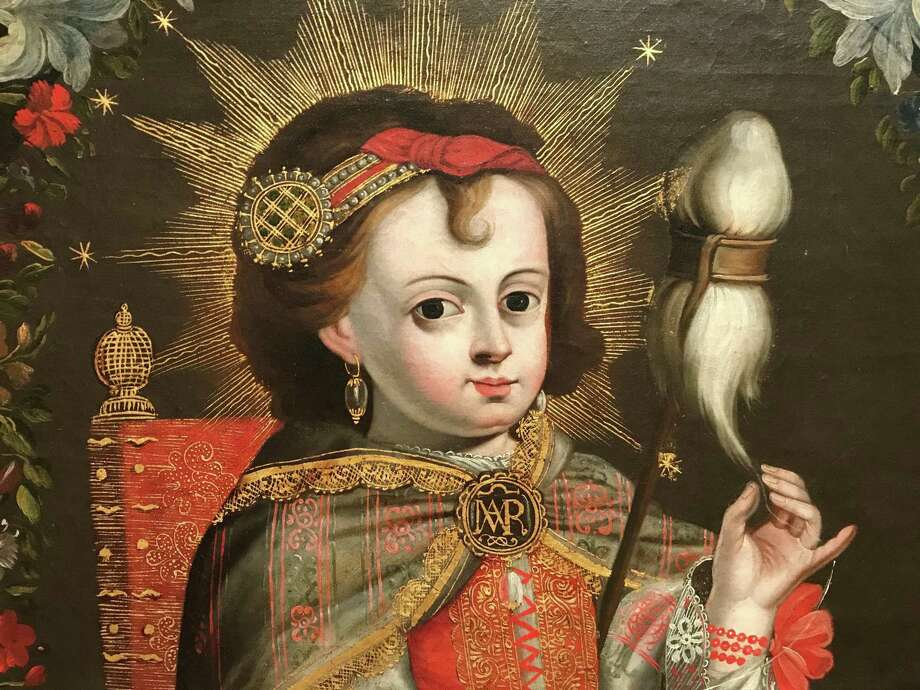 """A detail of """"The Child Mary Spinning,"""" from an unidentified 18th century workshop in Peru, one of the exquisitely detailed paintings of the Museum of Fine Arts, Houston's permanent collection. Photo: Molly Glentzer / Houston Chronicle"""