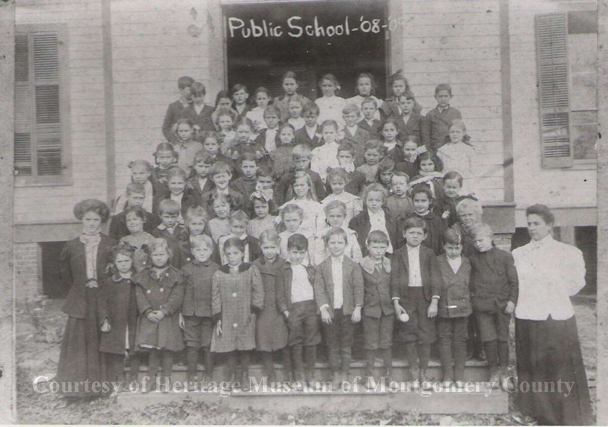 A picture of what school looked like for Conroe elementary students in the 1908-09 school year. Most schools were rural and it wasn't uncommon to have breaks in the school year due to illness.