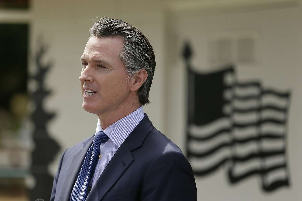 California Gov. Gavin Newsom speaks during a news conference at the Veterans Home of California Friday, May 22, 2020, in Yountville, Calif. (AP Photo/Eric Risberg, Pool)