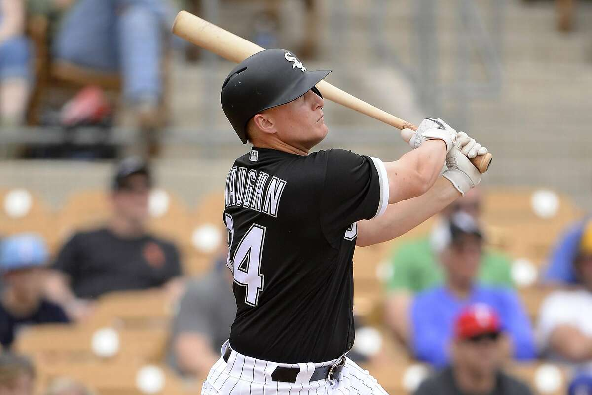 GLENDALE, ARIZONA - MARCH 10: Andrew Vaughn #94 of the Chicago White Sox bats against the Texas Rangers on March 10, 2020 at Camelback Ranch in Glendale Arizona. ~~