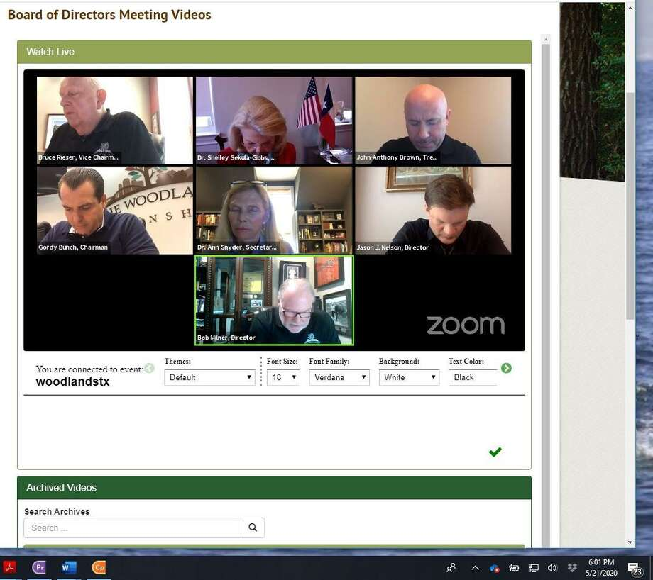 The Woodlands Township Board of Directors met once again via 'Zoom' online video conference technology on May 21. The board decided to not move forward with a proposal to create a board member vacancy appointment policy. The issue was raised after the quick appointment of Jason J. Nelson on April 16 to replace former director Brian Boniface. Photo: Courtesy / Courtesy