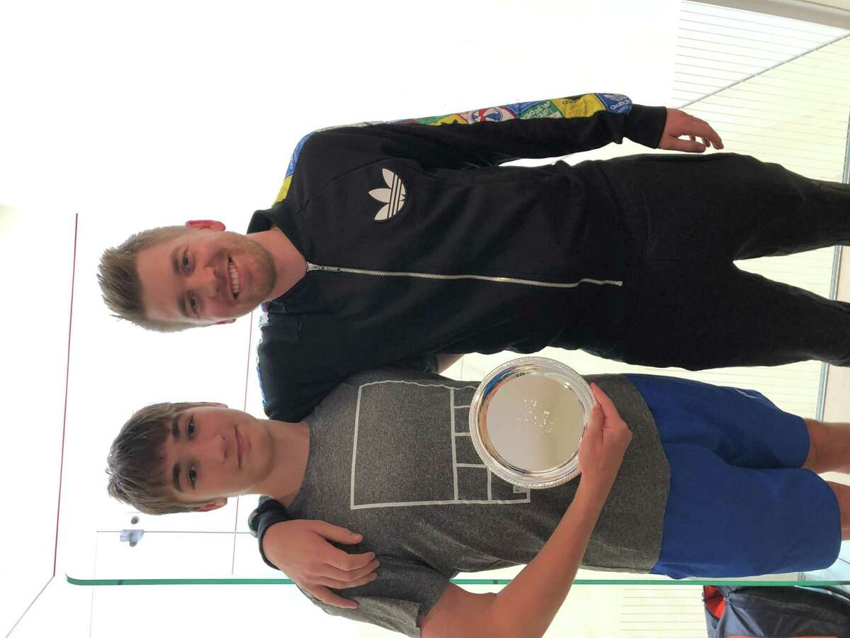 Ashton Monteiro, left, a Greenwich High School sophomore, received All-America accolades by US Squash, recently.