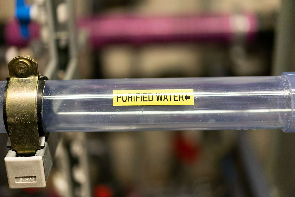 A purified water line of the 13-floor SFPUC on Friday, May 22, 2020, in San Francisco, Calif. SFPUC is working with property owners to make sure that plumbing systems are opened up safely as water that sits in pipes for months can be dangerous.