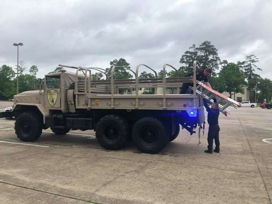 In preparation for the upcoming weather predicted to hit the Houston area by Hurricane Laura and Marco, the Road and Bridge Department has been taking part in practice sessions every two months since 2018 at Kickerillo-Mischer Preserve to prepare for natural disasters. Photo: Courtesy Of Harris County Precinct 4 Constable's Office