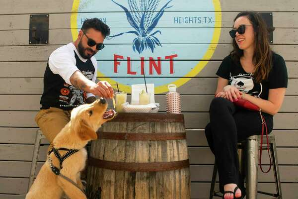 Christopher Gonzales and Elizabeth Witt enjoy frozen margaritas on the patio with Parker, the golden retriever puppy Witt is dog-sitting, Friday, May 22, 2020, at Eight Row Flint in Houston. Friday was the first day that bars were allowed to reopen in Texas.