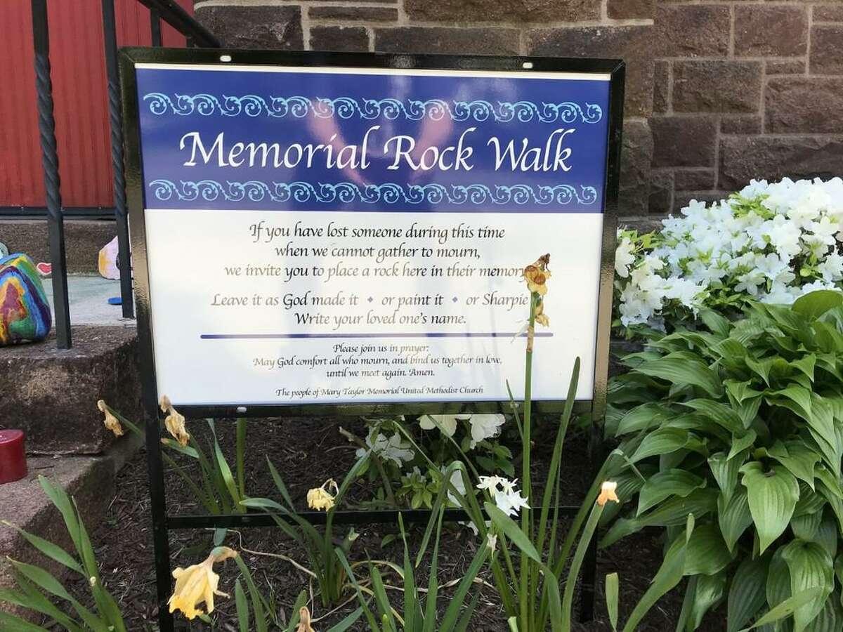 Mary Taylor Memorial United Methodist Church's sign regarding the Memorial Rock Walk
