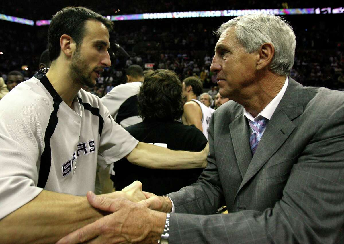 Sloan congratulates Manu Ginobili after the Spurs beat the Jazz in the 2007 Western Conference finals. Sloan is universally regarded as one of the greatest coaches in any sport not to win a title.