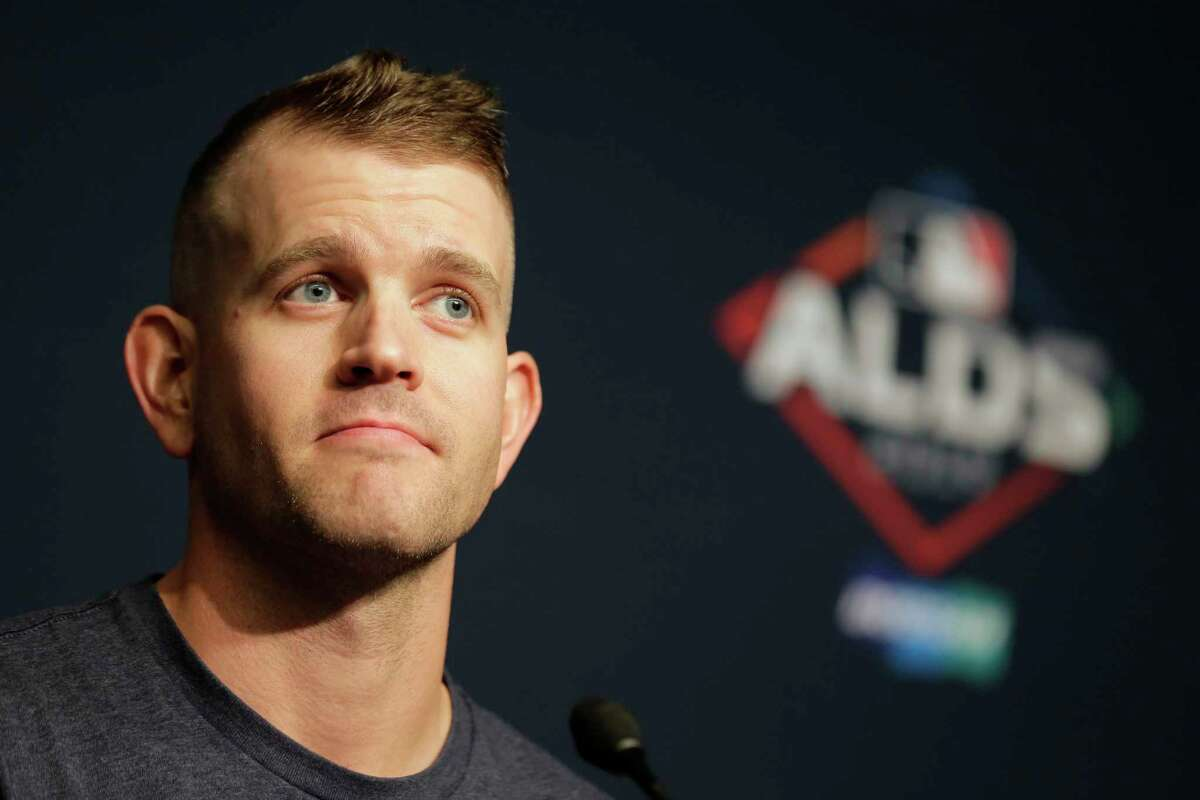 New York Yankees pitcher James Paxton talks to reporters at a news conference before a workout at Yankee Stadium, Thursday, Oct. 3, 2019, in New York. The Yankees will host the Minnesota Twins in the first game of an American League Division Series on Friday. (AP Photo/Seth Wenig)