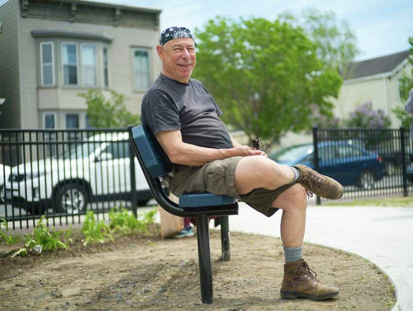 Sid Fleisher, a member of the Osgood Neighborhood Association poses for a photo in the new park at the corner of 2nd St. and Jackson St. on Tuesday, May 19, 2020, in Troy, N.Y. Members of the association built the park. (Paul Buckowski/Times Union)
