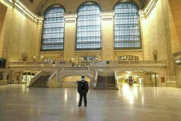 A near-empty Grand Central Terminal during the morning rush hour in early May 2020 in New York City.