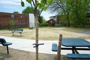 A view of the new park at the corner of 2nd St. and Jackson St. on Tuesday, May 19, 2020, in Troy, N.Y. Members of the Osgood Neighborhood Association built the park.     (Paul Buckowski/Times Union)