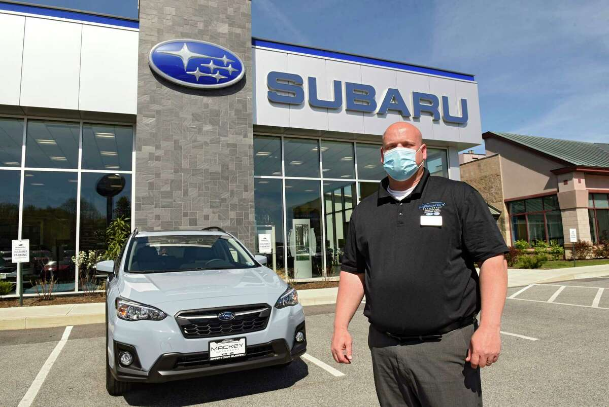 General Manager Michael Crowley stands in front of Saratoga Subaru on Thursday, May 21, 2020 in Saratoga Springs, N.Y. (Lori Van Buren/Times Union)