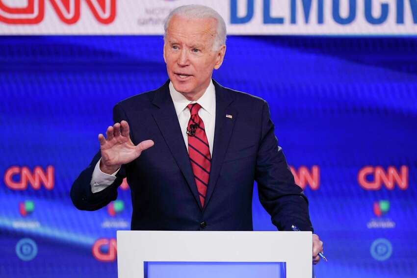FILE - In this Sunday, March 15, 2020, file photo, former Vice President Joe Biden participates in a Democratic presidential primary debate at CNN Studios in Washington. Biden won Oregona€™s Democratic presidential primary, outpacing Vermont Sen. Bernie Sanders and Massachusetts Sen. Elizabeth Warren, who both suspended their campaigns earlier in the year. (AP Photo/Evan Vucci, File)
