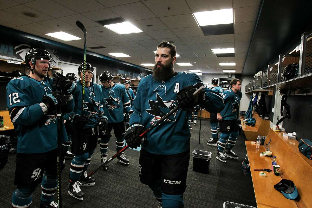 SAN JOSE, CA - FEBRUARY 17: Brent Burns #88 of the San Jose Sharks prepares to take the ice for warmups in the locker room against the Florida Panthers at SAP Center on February 17, 2020 in San Jose, California (Photo by Kavin Mistry/NHLI via Getty Images)