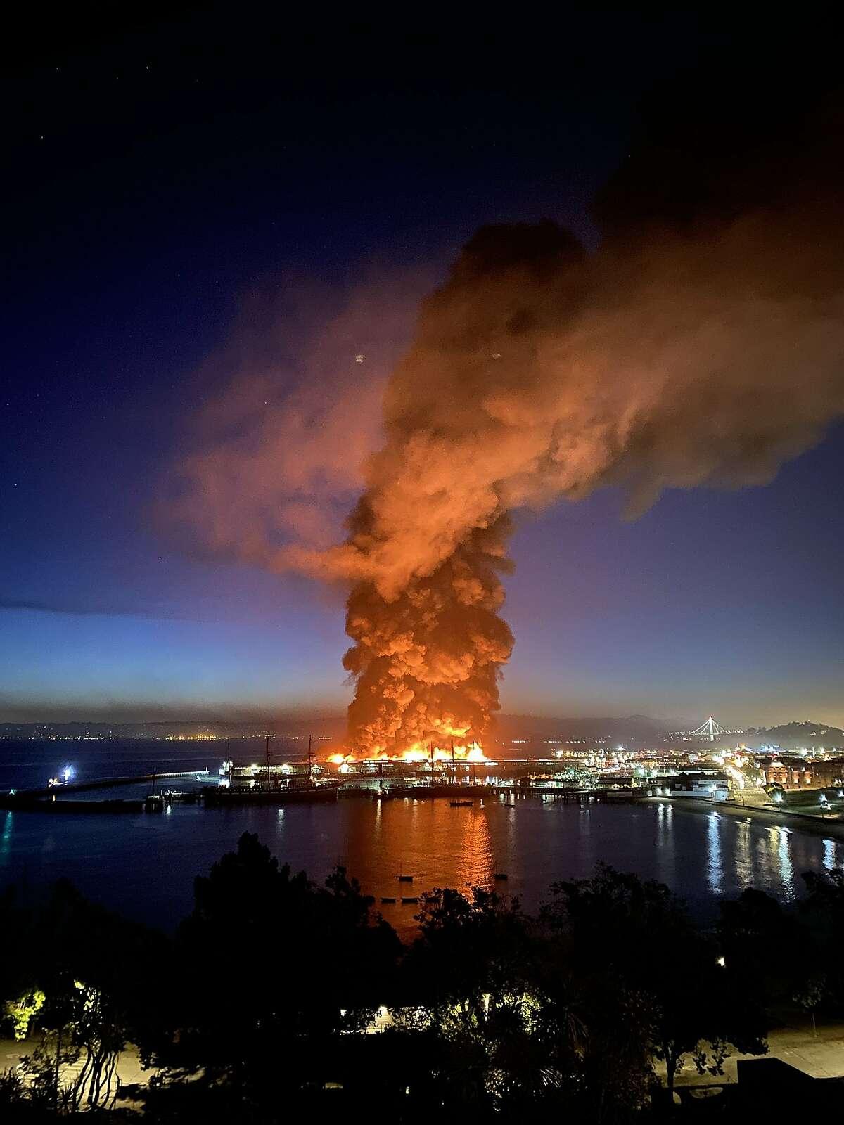 Fire at Pier 45 in San Francisco, Saturday, May 23, 2020.
