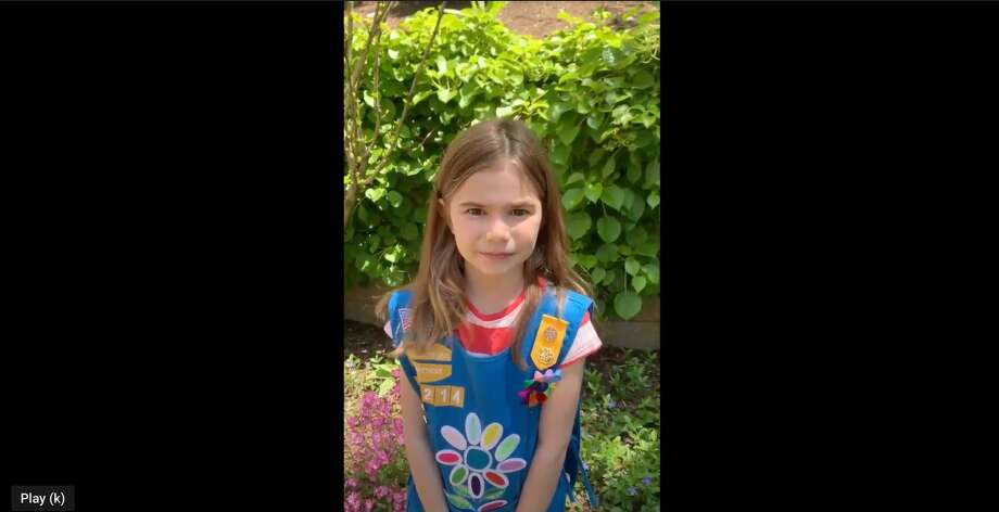Darien Girl Scouts usually read the Gettysburg Address at Darien's Memorial Day ceremony. This year, they did it virtually. Photo: Contributed