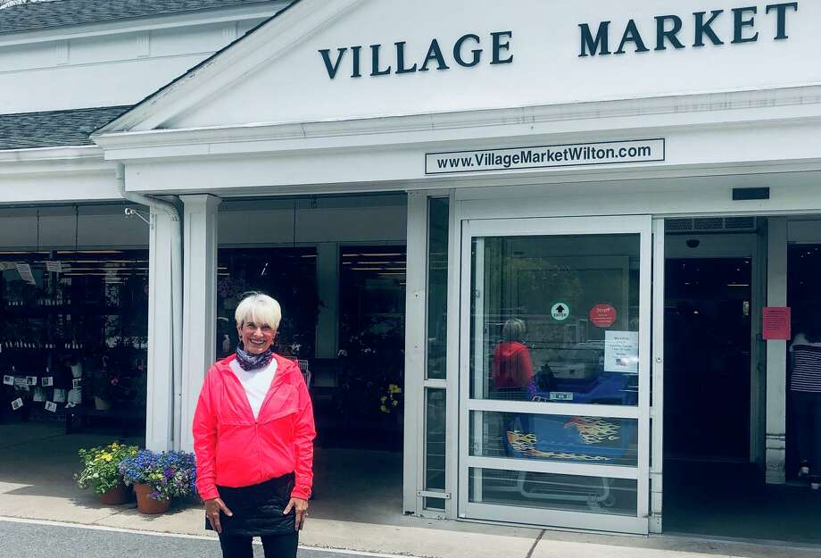 Georgann Frey celebrates her 10-mile walk from Ridgefield to Wilton Center on May 12. Photo: Contributed Photo / / Wilton Bulletin Contributed