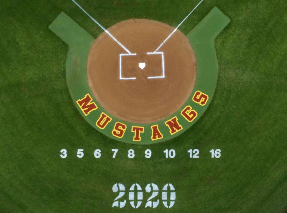 The numbers of varsitybaseball players are seen on the field at Magnolia West High School, Saturday, April 18, 2020, in Magnolia. Photo: Jason Fochtman, Houston Chronicle / Staff Photographer / 2020 © Houston Chronicle