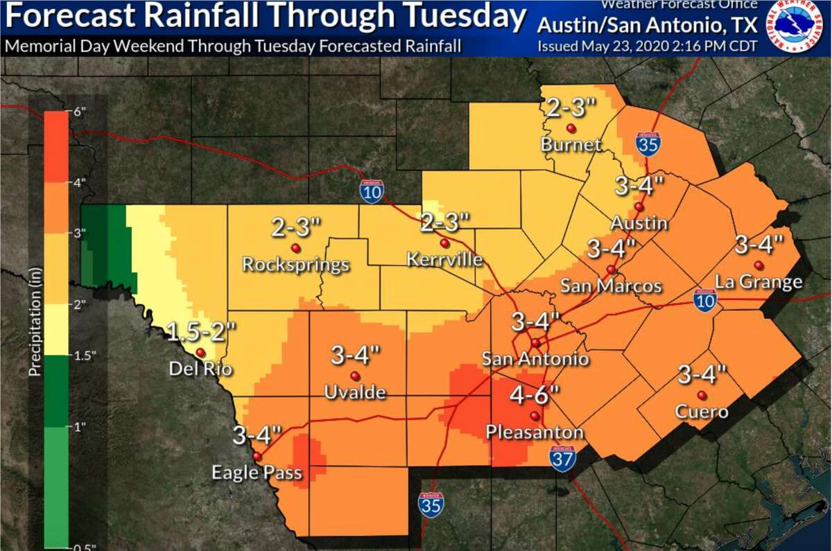 San Antonio can expect to see heavy rainfall with the potential for localized flooding through Tuesday.