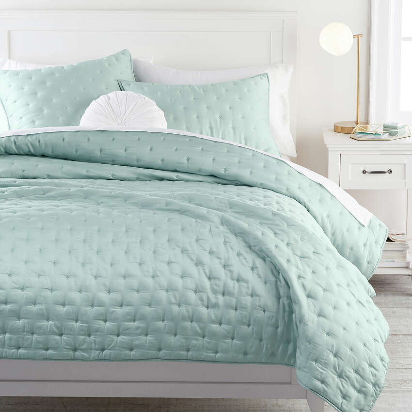 Pottery Barn Teen's Amelia bedding collection, made of Tencel, a soft, wrinkle-resistant material made of eucalyptus fibers. Many manufacturers of home decor are working on producing sustainable products. Plant-based materials now include things like bark, leaves and seeds transformed into vegan leather, fabric and organic plastic. (Pottery Barn Teen via AP)