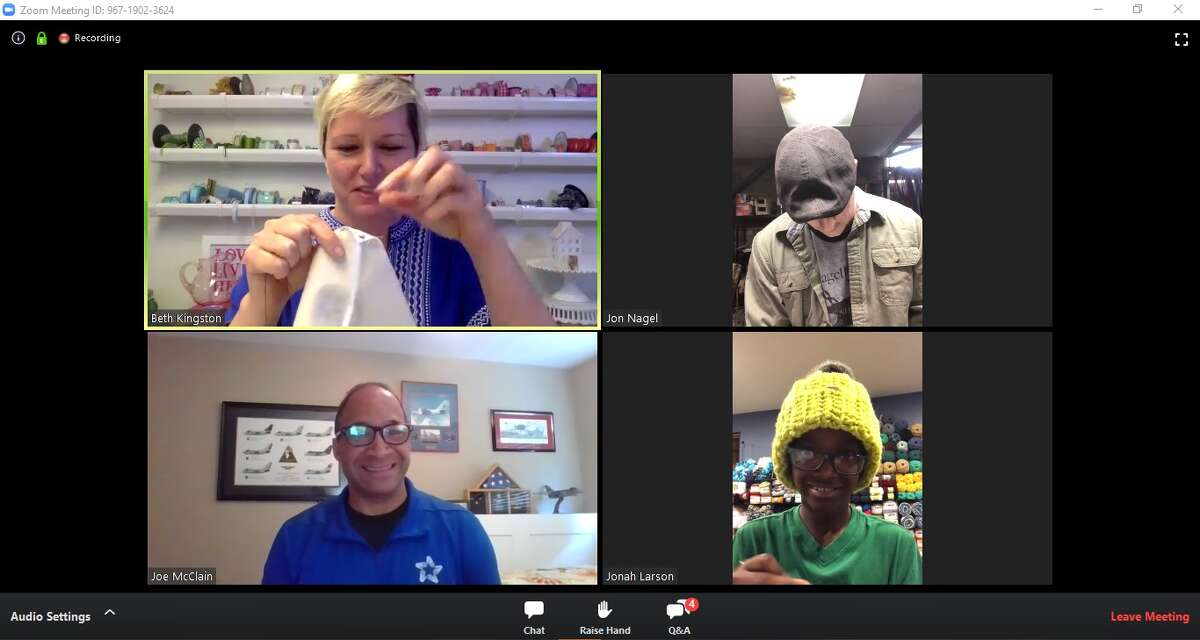 Beth Kingston, top left, and Jon Nagel, top right, work on their homemade cloth masks as part of Help Heal Veterans virtual craft-a-thon Saturday held over Zoom. Jonah Larson, bottom right, opted to crochet his homemade mask. The nonprofit provided 2,000 free mask-making kits to veterans and activity military members nationwide ahead of the event. Joe McClain (bottom left), CEO of the organization, led the event.
