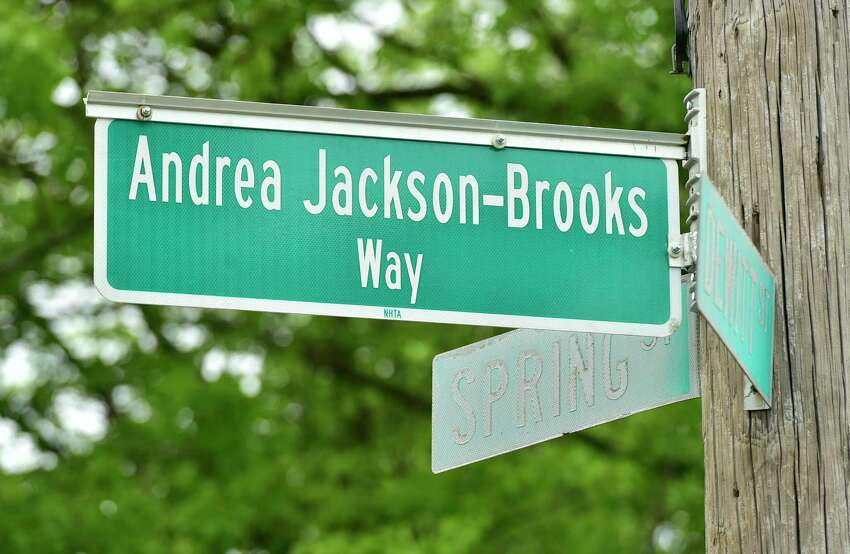 A procession of cars and well-wishers paraded through New Haven Saturday to celebrate former New Haven Alder Andrea Jackson Brooks for her service to the city. The corner of Dewitt and Spring Streets, where Jackson-Brooks lives, has been renamed in her honor.