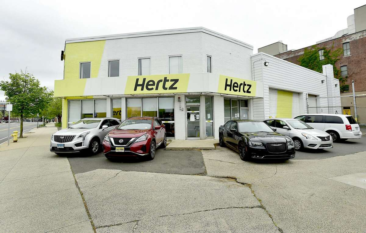 New Haven, Connecticut - Saturday, May 23, 2020: Hertz car rental at 1 George Street in New Haven.
