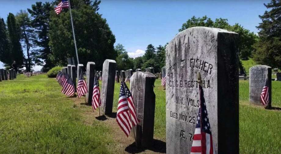 Veteran grave sites featured in the Danbury Fire Department's Memorial Day tribute video, directed by Lt. Nick Cabral, firefighters Gabe Rivera, John Whitehead, Jason Culbreth, Nick Nunnally and Jeff Perkins. The two-minutes video was filmed and edited by firefighter Gabe Rivera and Deputy Chief Bernie Meehan. Photo: Danbury Fire Department