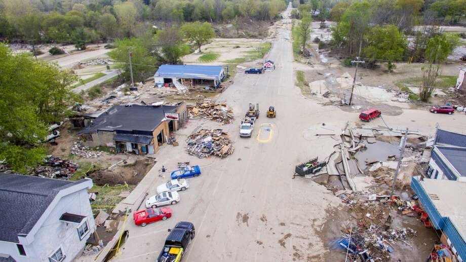 Aerial photographs show the scene in downtown Sanford Saturday, May 23, 2020 as efforts continue to clear debris and assess flood damage. (Adam Ferman/for the Daily News) Photo: (Adam Ferman/for The Daily News)
