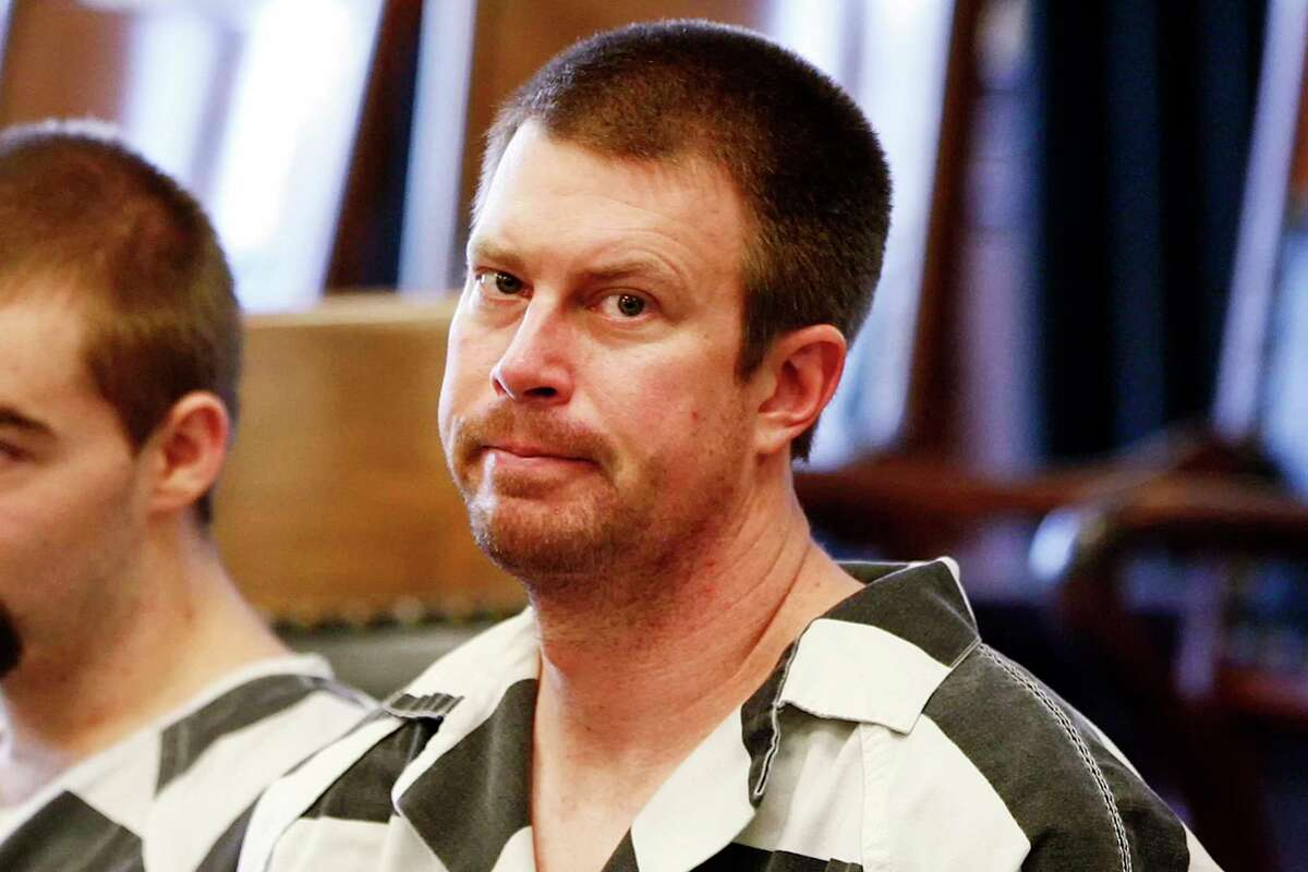 FILE - In this May 8, 2012, file photo, Ryan Leaf sits in a Cascade County courtroom in Great Falls, Mont. Leaf was arrested Friday, May 22, 2020, on a domestic battery charge in Palm Desert, Calif.,, which is about 110 miles southeast of Los Angeles, according to booking information provided by the Riverside County Sheriff's Department on Saturday. (Larry Beckner/The Great Falls Tribune via AP)