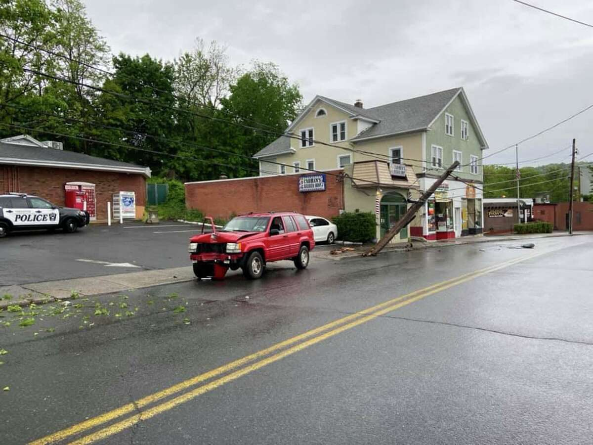 Police and fire units responded to a one-vehicle crash on Rubber Avenue between Church Street and Meadow Street in Naugatuck, Conn., on Saturday, May 23, 2020.
