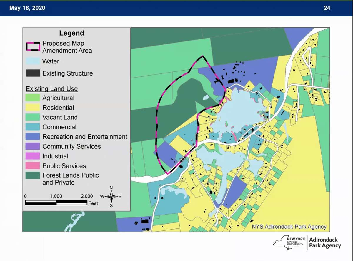 An Adirondack Park Agency map shows the acreage the Town of Lake Luzerne is hoping to have reclassified. (Courtesy of the Adirondack Park Agency)