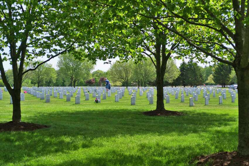 People spent time paying respect to veterans at the Gerald B.H. Solomon Saratoga National Cemetery on Sunday, May 24, 2020, in Schuylerville, N.Y. (Paul Buckowski/Times Union)